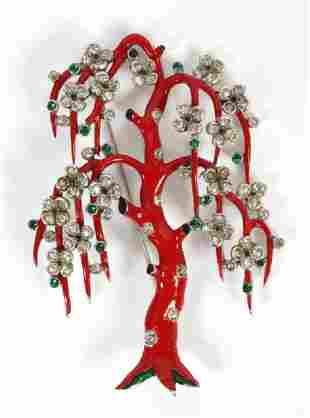 """TRIFARI ENAMEL TREE BROOCH, W 2 1/4"""", L 3 1/4"""""""