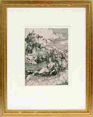 "ALBRECHT DURER ENGRAVING, C. 1498 ""SEA MONSTER"""