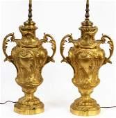FRENCH DORE BRONZE LAMPS, CIRCA 1900, PAIR