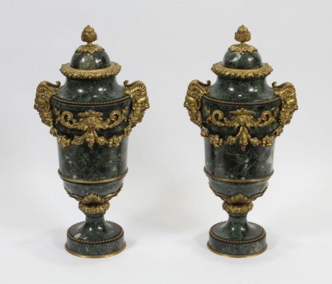 FRENCH MARBLE AND BRONZE URNS