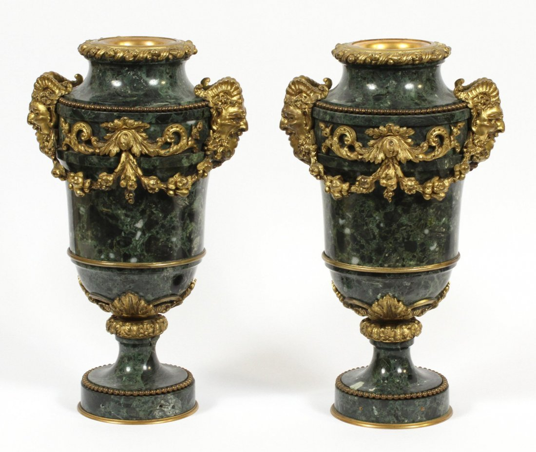 FRENCH MARBLE AND BRONZE URNS - 7