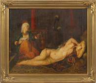 OIL ON BOARD RECLINING FEMALE NUDE