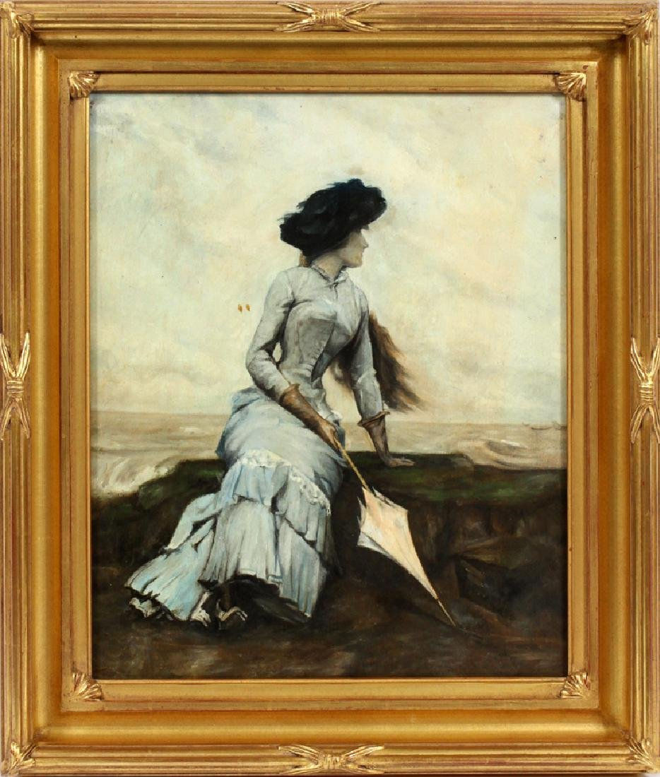 SIGNED OIL ON BOARD WOMAN HOLDING A PARASOL