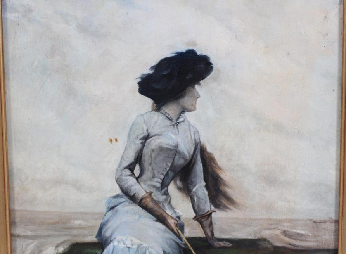 SIGNED OIL ON BOARD WOMAN HOLDING A PARASOL - 2