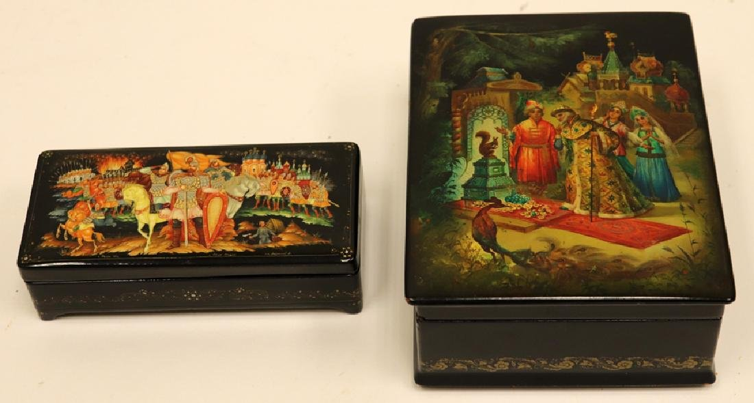 RUSSIAN LACQUER BOXES, PAIR