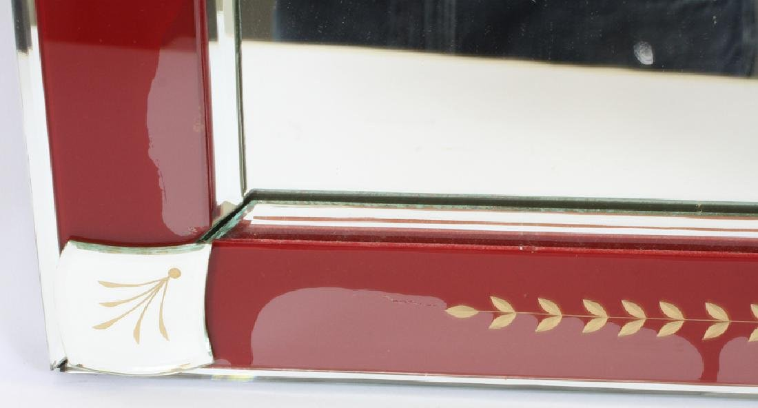 DECORATED RED GLASS FRAME WALL MIRROR - 2