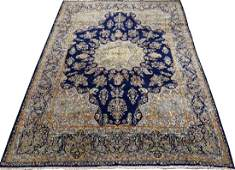 PERSIAN KERMAN HANDWOVEN WOOL RUG, W 9', L 12'