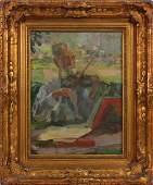 GERMAN SCHOOL OIL ON MASONITE MAN PLAYING VIOLIN
