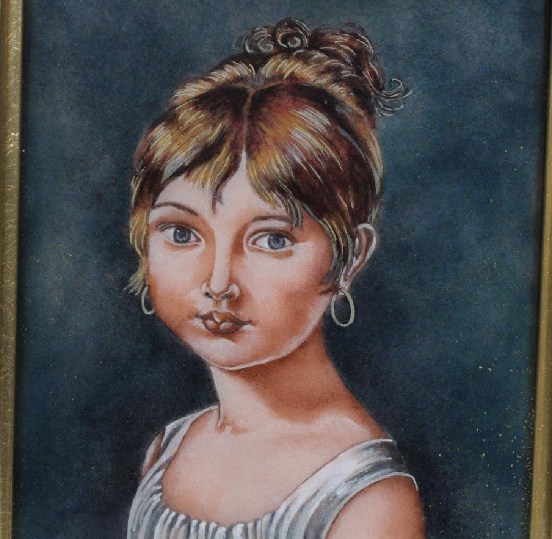 "FRENCH, ENAMEL ON COPPER PORTRAIT, H 6"", L 4 1/2"" - 2"