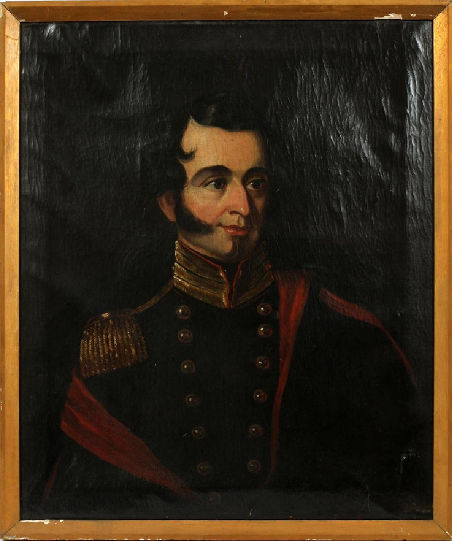 OIL ON CANVAS 19TH.C. PORTRAIT OF SOLDIER