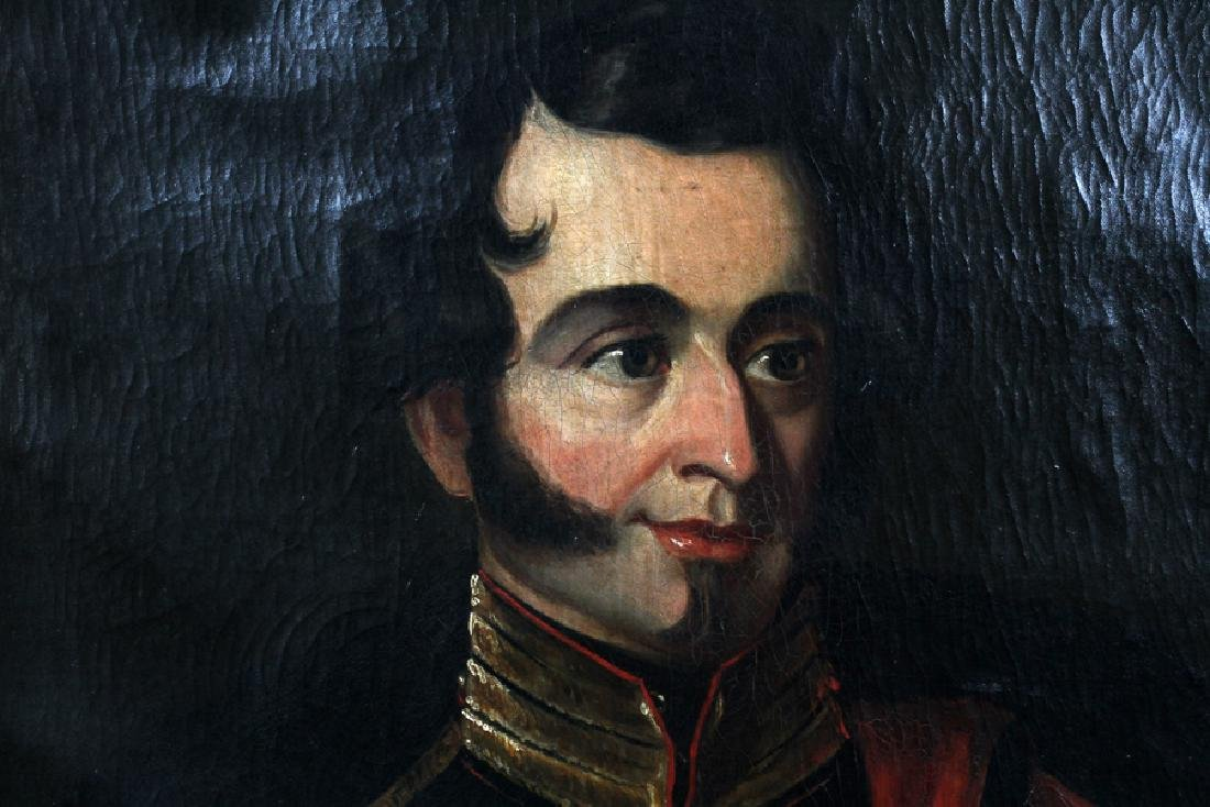 OIL ON CANVAS 19TH.C. PORTRAIT OF SOLDIER - 2