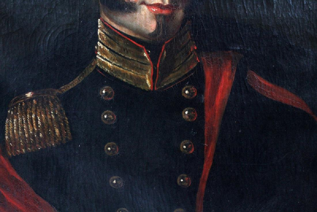 OIL ON CANVAS 19TH.C. PORTRAIT OF SOLDIER - 3