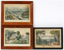 CURRIER AND IVES LITHOGRAPHS 3 LANDSCAPES
