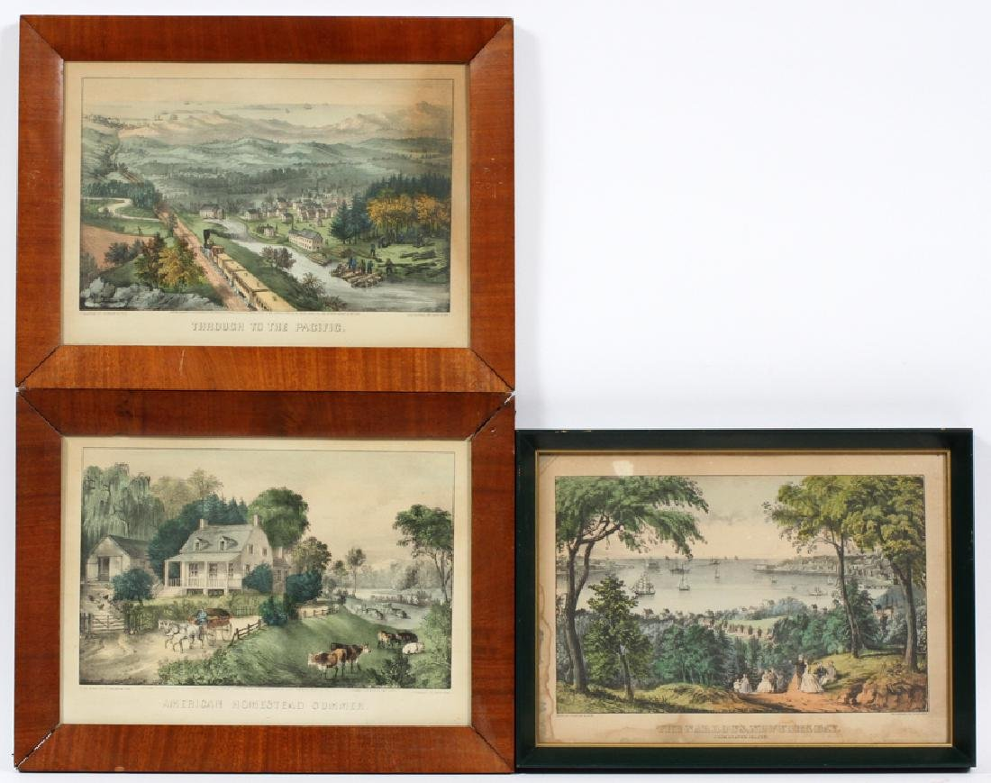 CURRIER AND IVES, LITHOGRAPHS, 3 LANDSCAPES