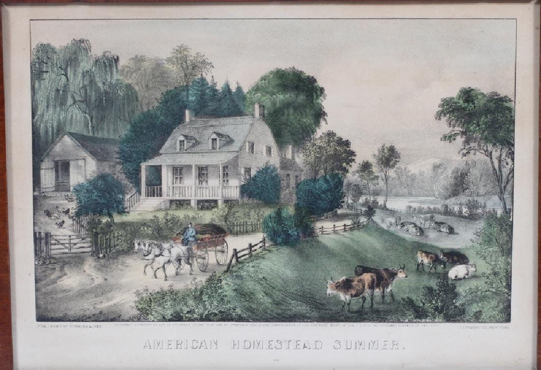 CURRIER AND IVES, LITHOGRAPHS, 3 LANDSCAPES - 3