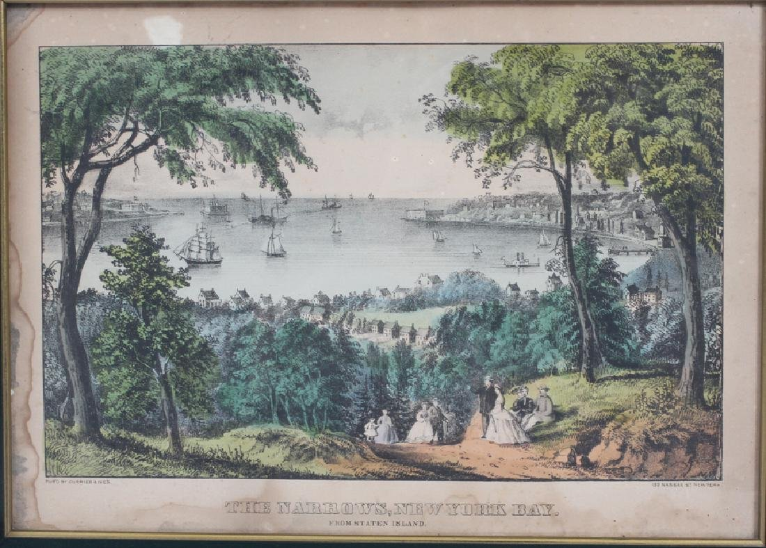 CURRIER AND IVES, LITHOGRAPHS, 3 LANDSCAPES - 4