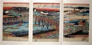 HIROSHIGE , WOODBLOCK PRINT, 'NIHONBASHI BRIDGE',