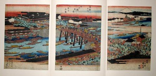 3002: HIROSHIGE , WOODBLOCK PRINT, 'NIHONBASHI BRIDGE',