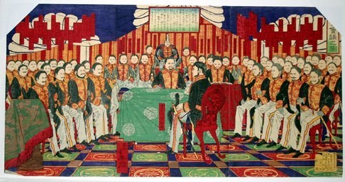 3004: TOYOHARU CHIKANOBU, WOODBLOCK PRINT, 'IMPERIAL PA
