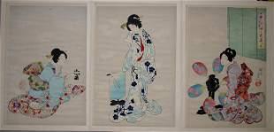 CHIKANOBU, WOODBLOCK PRINT, 'COURT LADIES AT CHIY