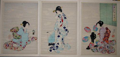 3005: CHIKANOBU, WOODBLOCK PRINT, 'COURT LADIES AT CHIY