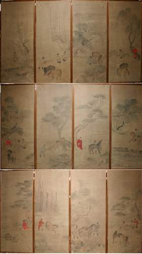 CHINESE PAINTED PAPER PANELS, 'MEN & HORSES', 20T