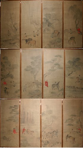 3006: CHINESE PAINTED PAPER PANELS, 'MEN & HORSES', 20T