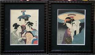"UTAMARO, JAPANESE WOODBLOCK PRINTS, TWO, 10 3/4"""