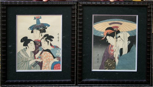 "3007: UTAMARO, JAPANESE WOODBLOCK PRINTS, TWO, 10 3/4"""