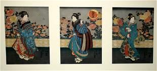 TOYOKUNI III (KUNISADA), WOODBLOCK PRINT, 'THREE