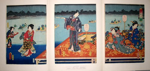 3009: TOYOKUNI III , WOODBLOCK PRINT, 'GENJI-E', C. 182