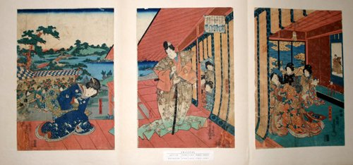 3010: TOYOKUNI III , WOODBLOCK PRINT, 'GENJI-E', C. 182