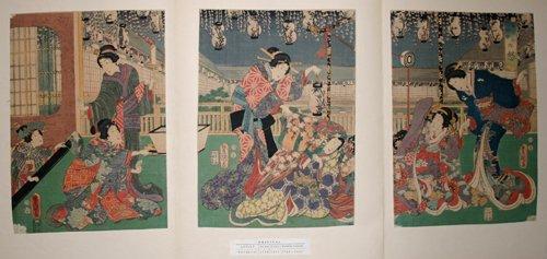3012: TOYOKUNI III , WOODBLOCK PRINT, 'BIJIN', C. 1820,