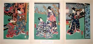 "TOYOKUNI III , WOODBLOCK PRINT, 'GENJI-E', 14"" X"