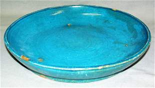 MING DYNASTY FA WAH TURQUOISE POTTERY LOW BOWL, C