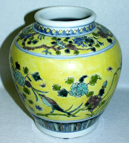 3025: JAPANESE YELLOW GROUND POTTERY VASE WITH INSET FO
