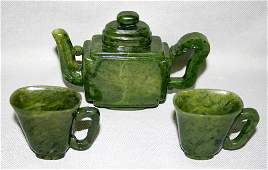 3118 CHINESE CARVED SPINACH JADE TEA SET THREE PIECES
