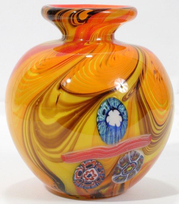 070001: FRATELLI TOSO BULBOUS MULTI-COLOR GLASS VASE