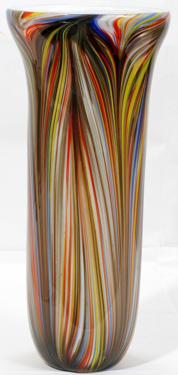 """070015: MURANO ITALIAN GLASS VASE, H15"""" DIA6.8"""""""