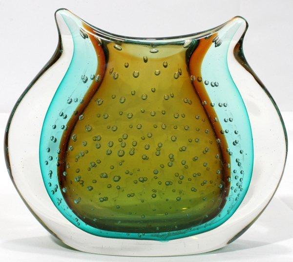 """070017: SEGUSO GLASS PILLOW VASE, H6.5"""" W7.5"""""""