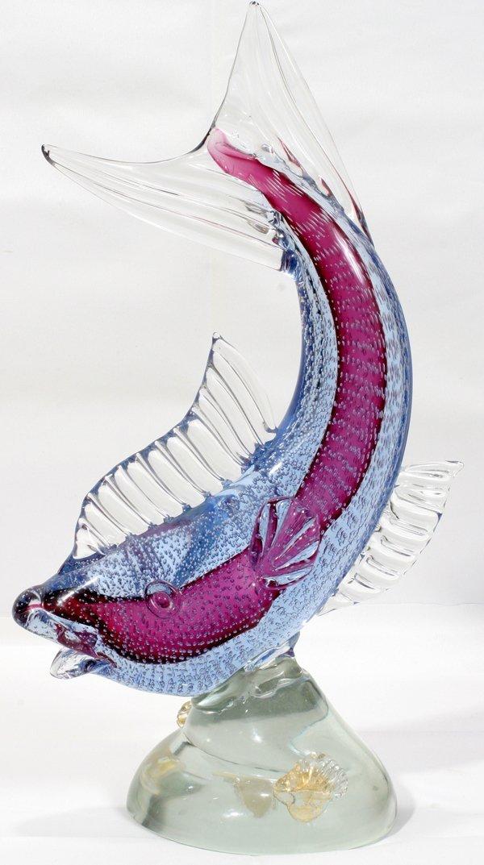 "070019: ALVIN ITALIAN GLASS FISH, C.1950, H18"" W11"""