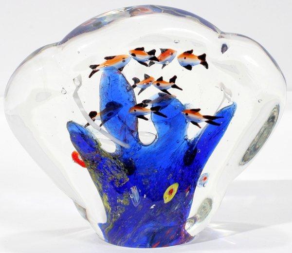 """070021: MURANO FAN SHAPED GLASS FISH BOWL, H6"""" W7"""""""