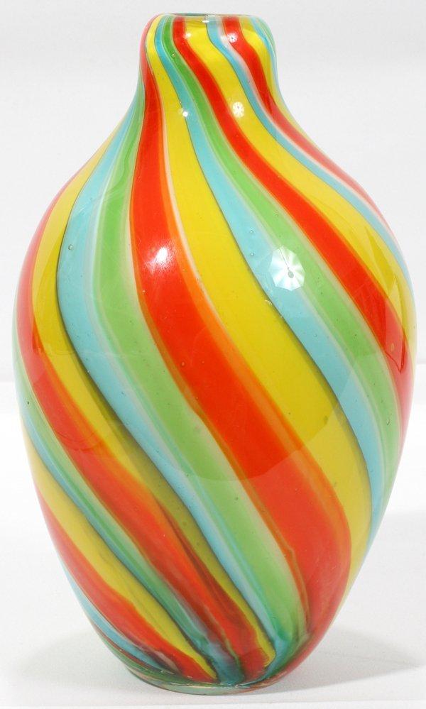 "070023: ITALIAN GLASS BULBOUS VASE, H9"" DIA5.5"""