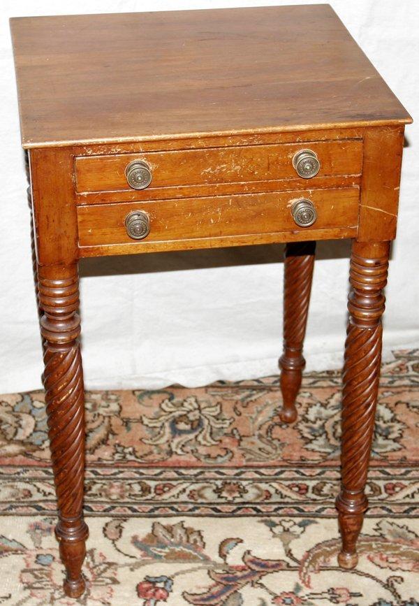 "070184: AMERICAN EMPIRE CHERRY TABLE, C.1850, H30"""