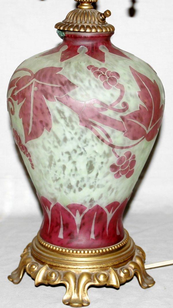 """071008: STEUBEN GLASS 'GRAPE' VASE AS A LAMP, H29"""""""