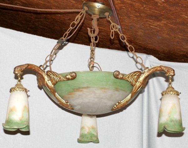 071009: MULLER FRES. FRENCH ART GLASS CHANDELIER