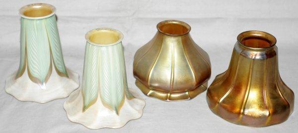 """071011: ART GLASS SHADES & GILT METAL FIXTURE, H21"""""""