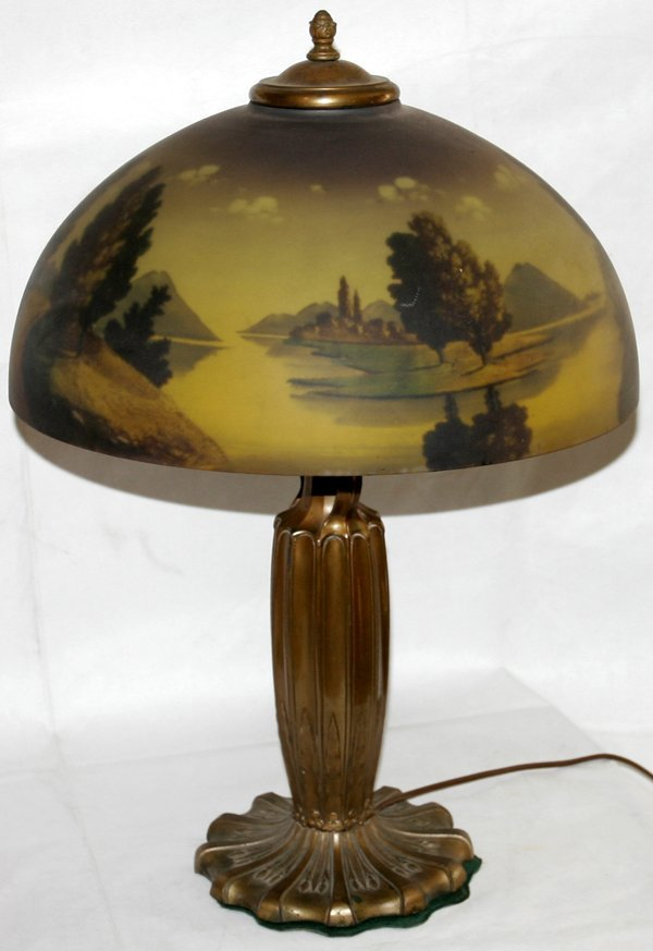 071013: AMERICAN REVERSE-PAINTED GLASS & BRASS LAMP