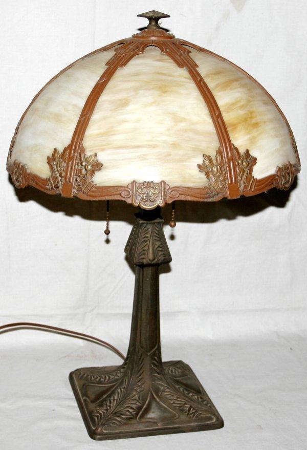 071014: AMERICAN BENT CARAMEL GLASS & SPELTER LAMP