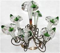 071188 VICTORIAN BLOWN GLASS  METAL EPERGNE